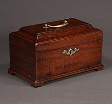 Chippendale mahogany tea caddy with coffered top and bracket feet, interior is fitted with three metal canisters, c.1830, 9