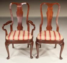 Set Of 10 Queen Anne Style Mahogany Dining Chairs With Urn Shaped Backs,  Balloon Shaped