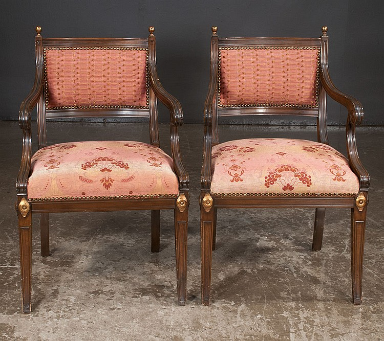 Pair of regency style mahogany upholstered armchairs with gi for Furniture northgate