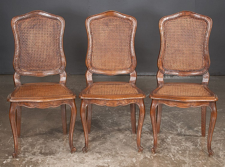 Set of six country french style dining chairs with cane pane for Furniture northgate