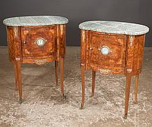 Pair of inlaid Louis XV bronze mounted walnut marble top commodes with Wedgwood plaques, c.1890, 24