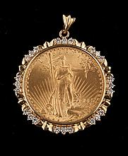 US 1927 $20 gold coin in a 14 kt. yellow gold bezel set with 24 round diamonds, approx. 1.75 cts.