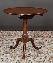 Georgian mahogany tripod tip table with dish top and bird cage, c.1790, 28