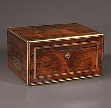English brass bound rosewood travelling dress box fitted with silver and crystal bottles and containers, c.1880, 12