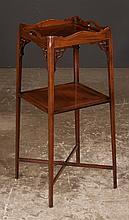 Sheraton style mahogany kettle stand with gallery top, pierced corner blocks, square tapered legs with string inlay, c.1900, 12.5