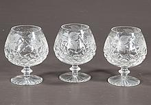 Set of 12 cut glass brandies with diamond cut design and etched leaf and grape design, 5