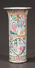 Chinese rose medallion cylinder vase with scenic and figural decoration, c.1880, 11