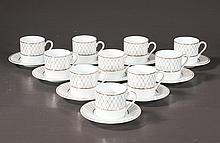 Group of ten demitasse cups and saucers marked