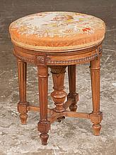 French walnut piano stool with needlepoint cushion and tapered fluted legs with stretcher, c.1900, 15