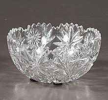 American Brilliant period cut glass fruit bowl with scalloped top, signed