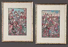 Pair of framed Chinese silk panels, overall-17