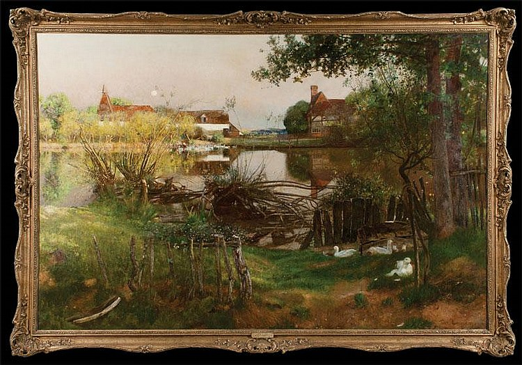 19th century oil painting on canvas, farm scene with lake,