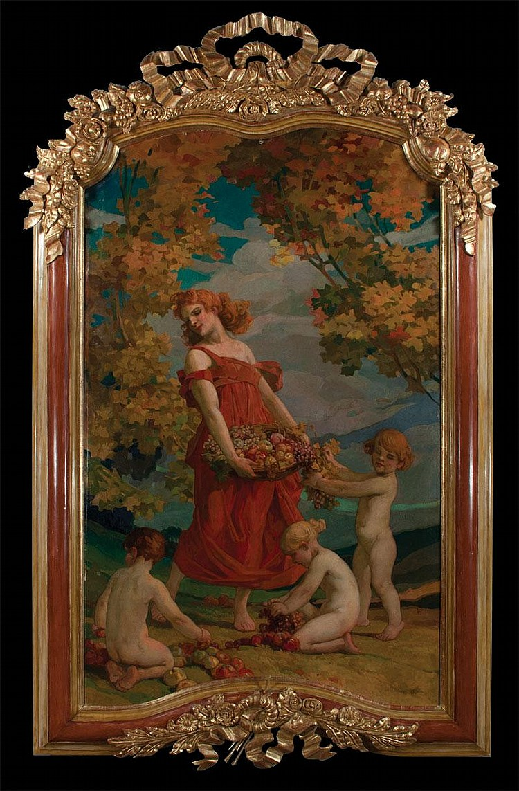 19th century oil painting on canvas with a young woman holding a basket of fruit and three putti,