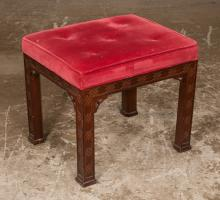 Chinese Chippendale style mahogany stool with pierced corner blocks, on straight legs with blind fret carving, 19