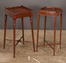 Sheraton style mahogany tray top kettle stand with scalloped top on turned legs with stretcher by Arthur Brett, London, 12