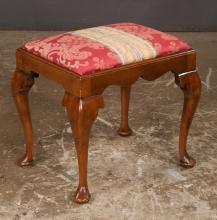 Queen Anne style mahogany stool with scalloped apron on cabriole legs with pad feet, 20