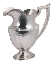 Gorham sterling silver pitcher with shaped handle, 10