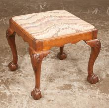Chippendale mahogany stool with shaped apron on cabriole legs, shell carved knees and ball and claw feet, c.1860, 20