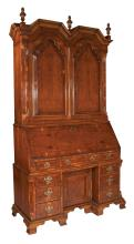 Queen Anne style yew wood bonnet top kneehole bureau bookcase with good fitted interior, arched panel doors in the top, base has chamfered corners and on ogee bracket feet, c.1880, 48