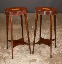 Pair of oval Hepplewhite style kettle stands with oval satinwood medallion inlay in the tops, pull out slides and on square tapered legs with lower platform, by Kindel Furn. Co., 14