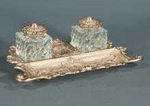 Brass desk stand with two crystal inkwells with brass lids, 11