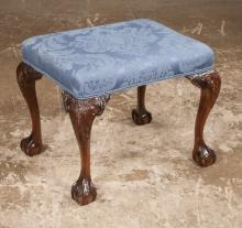Chippendale style mahogany stool on cabriole legs with acanthus carved knees and ball and claw feet, 22
