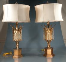 Pair of Frederick Cooper brass table lamps in the form of a hexagonal street lantern with shades, 38