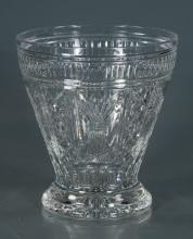 Large signed Waterford cut crystal vase with a diamond cut design, 9.5