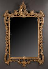 Gold gilt Venetian mirror with pierced scroll and floral decoration, 55