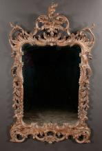 Venetian style mirror with scroll and carved pediment by La Barge, 58
