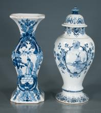 Delft blue and white vase with garden scene, floral and figural decoration, 12