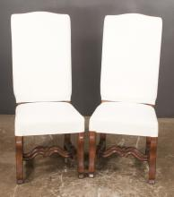Set of Six Country French style dining chairs on cabriole legs with scroll carving on the sides of the legs and with shaped stretcher, 19