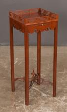 Chippendale style mahogany kettle stand with pierced fretwork gallery, pull out slide, scalloped apron and pierced fretwork stretcher, 12
