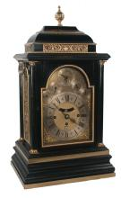 Georgian three train black lacquered fussee bracket clock with brass and silver dial with moon phase, movement with quarter hour chime on 6 bells, W. Jourdain, London, c. 1760, 15
