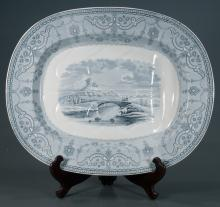 Copeland Spode blue and white treewell platter decorated with a stone bridge over a river and castle in the background, c.1880, 21