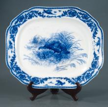 Large blue and white Ironstone platter decorated with a figure of a turkey in the center, border has turkey and floral decoration, marked Cauldon, England, c.1880, 22