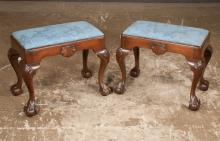 Pair of Chippendale style mahogany stools with shell carved aprons and on cabriole legs with shell carved knees and ball and claw feet by Kittinger Furn. Co., 21