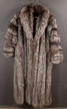 Full length silver fox fur coat, 56