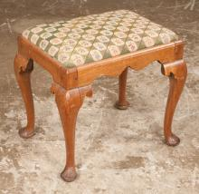 Queen Anne mahogany stool with shaped apron and on cabriole legs with pad feet, c.1860, 20