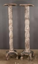 Pair of tall wooden plant stand with fluted and carved columns and on scroll feet, 65