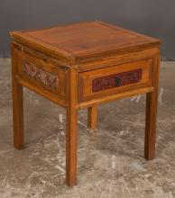 Chinese style mahogany end table with one drawer, carved side panels and on straight legs, 20