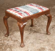 Queen Anne style mahogany stool with shaped apron and on cabriole legs with pad feet, c.1880, 24