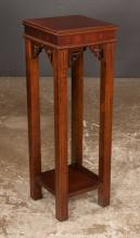 Chippendale style mahogany plant stand on straight moulded legs with pierced fretwork corner blocks, 12
