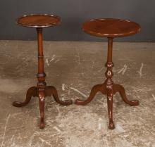 Mahogany candlestand on a tripod base with pad feet, having dish top by Kittinger Furn. Co., 14