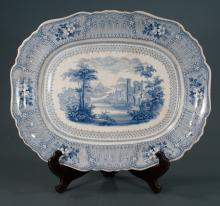 English blue and white Ironstone platter with scene of Cologne, Germany with a castle and trees having floral decoration in the border, c.1880, 20