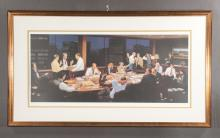 Framed lithograph of a large boardroom scene with men and women around a large table, signed and numbered, overall size: 26
