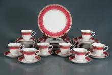 Partial set of Royal Albert china with maroon and gold decoration, 41 pieces