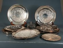 Collection of 13 silver plated trays and serving dishes