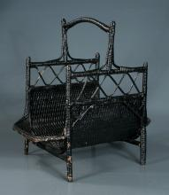 Woven wicker basket on turned legs with shaped handle, 20.5