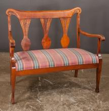 Wooden settee with three splats in the back and on tapered legs, 40